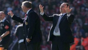 Alex Ferguson and Rafael Benitez will renew their rivalry this weekend. Photograph: Matt Peters/Getty