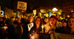 A protest outside the Dail calling for abortion legislation following the death of Savita Halappanavar last November.Photograph: Alan Betson