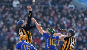 Tipperary's Noel McGrath with JJ Delaney and John Dalton of Kilkenny during the 2010 league clash. Photograph: Cathal Noonan/Inpho