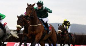 Colman Sweeney and Salsify on their way to victory in the Foxhunter Chase at last year's Cheltenham. Photograph: Warren Little/Getty images