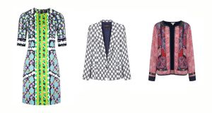 Column print dress(¤850), by Peter Pilotto at Samui; navy and white tailored jacket (¤620), by Isabel Marant at Costume; Persian tile print jacket (¤108), at Monseen. Below, Geo print ankle strap sandal (¤15), at Penneys