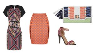 Printed t-shirt dress (¤54) at Marks and Spencer; Orange printed skirt (¤139) at Fran and Jane; Raffia fluro bag (¤31) at NEXT; Geo print ankle strap sandal (¤15) at Penneys