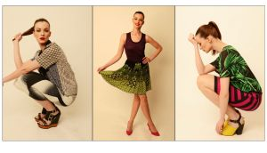Left: Knit vest (¤240) by M Missoni; Skirt (¤320) by Anna Sui, both at Arnotts. Shoes (¤85), at Office. Middle: Shirt (¤47), skirt (¤33), and shoes (¤80), all from River Island. Right: Jungle print tee (¤95), by Michael Kors; skirt (¤285), by Marc Jacobs at Brown Thomas; shoes (¤65) at Office