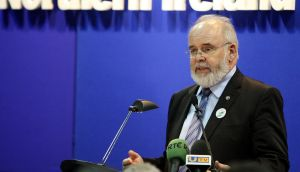 Sinn Fein candidate Francie Molloy makes a speech after being elected MP for Mid Ulster, at the count centre in Cookstown Leisure Centre, Co Tyrone. Photograph: Paul Faith/PA Wire