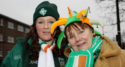 Irish rugby fans Leigh and Carmel Doherty before the Ireland versus France game at the Aviva Stadium in Dublin. Photograph: Colm O'Neill/Inpho