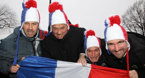 Colourfully attired French fans from Lyon. Photograph: Inpho