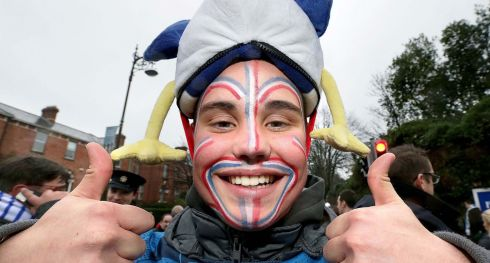 Cheerful French fan Marc Jeremy. Photograph: Inpho
