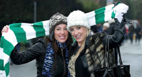 Irish fans Rachel and Gillian Campbell. Photograph:  Morgan Treacy/Inpho