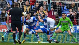 Gabby Agbonlahor scores against Reading for Aston Villa. Photograph: Paul Hackett/Reuters