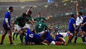 Jamie Heaslip of Ireland scores Ireland's try in the first half. Photograph: Richard Heathcote/Getty Images