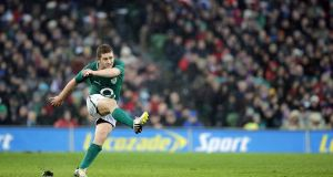Ireland's Paddy Jackson kicks a penalty