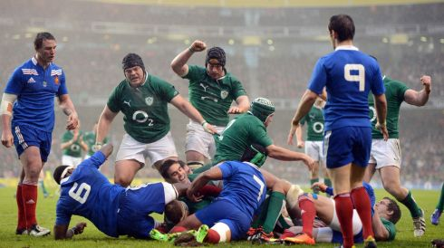 Captain Jamie Heaslip  scores the opening try of the game. Photograph: Cyril Byrne/The Irish Times