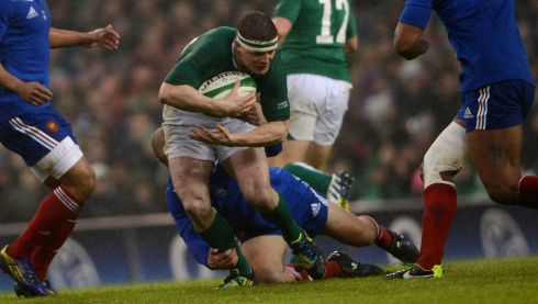 Brian O Driscoll is tackled. Photograph: Cyril Byrne/The Irish Times