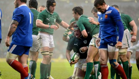 Jamie Heaslip  is congratulated after scoring the opening try. Photograph: Cyril Byrne/The Irish Times