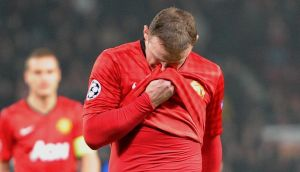Wayne Rooney cannot hide his disappointment the 2-1 defeat to Real Madrid last week. Photograph: Martin Rickett/PA Wire.