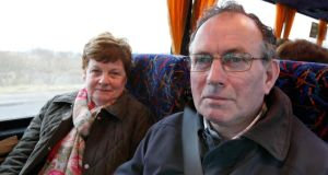 William Farren and his wife Margaret. They had to make a 50km drive from their home in Greencastle to meet the bus in Letterkenny. Photograph: Declan Doherty