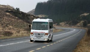 The Good and New cancer charity bus making its way through Barnesmore Gap between Ballybofey and Donegal Town during it's journey from Letterkenny to Galway. Photograph: Declan Doherty