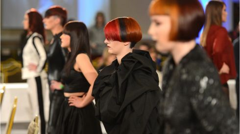 Working it at the IHF National Hairdressing Championships 2013, at City West Hotel, Dublin. Photograph: Dara Mac Dónaill/The Irish Times