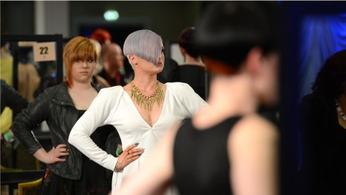 Put your hands on your hips...at the IHF National Hairdressing Championships 2013. Photograph: Dara Mac Dónaill/The Irish Times