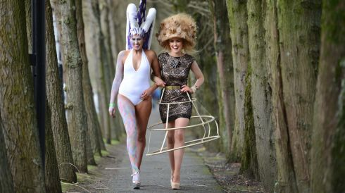 'Mystical Unicorn' (styled by Clare O'Reilly, Ashbourne), model Rebecca Cooke, Castleknock, (left) with Madame Papador (styled by Nadia Benson, Lucan ) model  Caoimhe Kelly, Lucan, at the IHF National Hairdressing Championships 2013. Photograph: Dara Mac Dónaill/The Irish Times