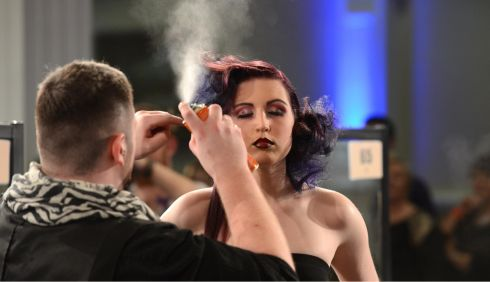 This 'do' has to be perfect... Aaron Healy with Darina Lynch at the IHF National Hairdressing Championships 2013. Photograph: Dara Mac Dónaill/The Irish Times