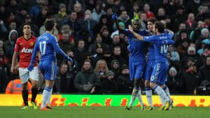 Ramires celebrates after the final whistle. Photograph: Robin Parker/Fotosports International