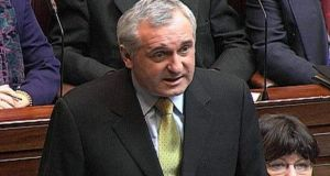 Former taoiseach Bertie Ahern speaking in the Dail.