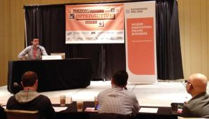 Brendan O'Driscoll co-founder of Soundwave, pitches at SXSW in Austin Texas.