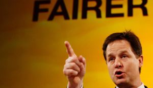 Britain's Deputy Prime Minister and leader of the Liberal Democrats, Nick Clegg, delivers his keynote speech at the party's spring conference in Brighton yesterday. Photograph: Luke MacGregor