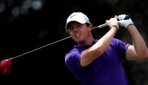 Rory McIlroy  tees off on the fifthon his way to a top 10 finish with a final round 65