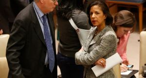 US Ambassador to the United Nations Susan Rice (right) talks just prior to voting to tighten sanctions on North Korea at the UN headquarters in New York last week. Photograph: Reuters