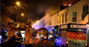 A fire at Sandyford Road, Ranelagh, Dublin recently. Photographer: Dara Mac Dónaill / THE IRISH TIMES