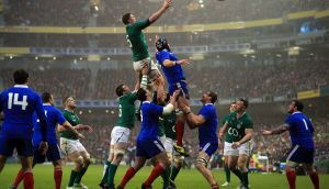 DUBLIN, IRELAND - MARCH 09:  Donnacha Ryan of Ireland wins a lineout during the RBS Six Nations match between Ireland and France at Aviva Stadium on March 9, 2013 in Dublin, Ireland.  (Photo by Richard Heathcote/Getty Images)