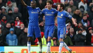 MANCHESTER, ENGLAND - MARCH 10:  Ramires (l) of Chelsea celebrates scoring his teaam's second goal with team-mates Cesar Azpilicueta and Juan Mata (r) during the FA Cup sponsored by Budweiser Sixth Round match between Manchester United and Chelsea at Old Trafford on March 10, 2013 in Manchester, England.  (Photo by Alex Livesey/Getty Images)