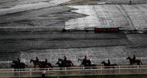 Horses and jockeys make their way past ground sheeting covering the course as they head out to the gallops at the Cheltenham racecourse yesterday. Photograph: Eddie Keogh/Reuters