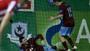 Drogheda United's Ryan Brennan celebrates scoring the winning goal with David Cassidy. Photograph: Morgan Treacy/Inpho