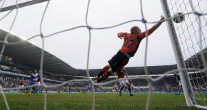 Brad Guzan of Aston Villa makes a save against Reading last weekend. Photograph: Christopher Lee/Getty Images
