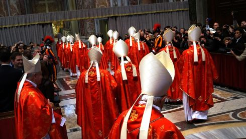 Cardinals exit St Peter's Basilica after the Pro Eligendo Romano Pontifice Mass in Rome.  Photograph:  Spencer Platt/Getty Images