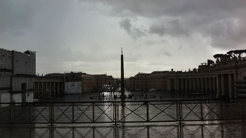 St Peter's Square in Rome this morning. Cardinals are entering the conclave today to decide on who becomes the next pontiff.  Photograph: Spencer Platt/Getty Images