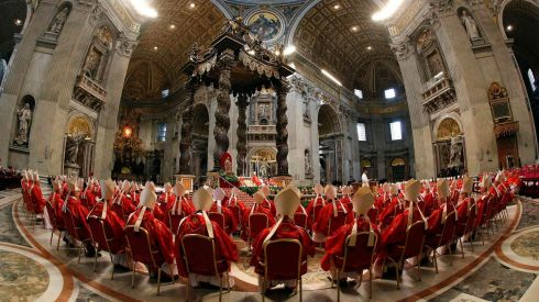 Cardinals attend a mass in St. Peter's Basilica to pray for the election of the new pope. Photograph: Stefano Rellandini/Reuters