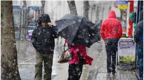 Pedestrians brave the elements in Dublin. Photograph: Bryan O'Brien/The Irish Times