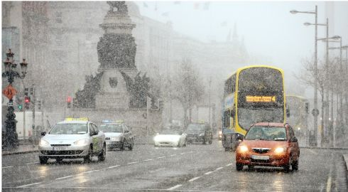 Wintry weather on O'Connell Street in Dublin. Photograph: Bryan O'Brien/The Irish Times