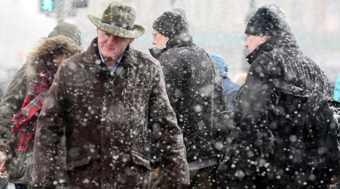 Battling the snow in Dublin city centre. Photograph: Bryan O'Brien/The Irish Times
