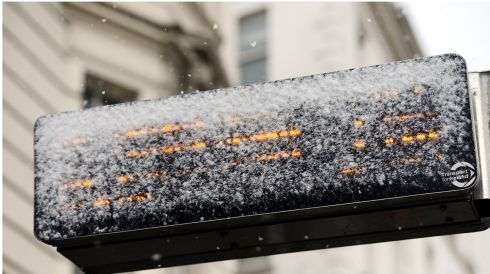 Bus sign in the snow in Dublin. Photograph: Bryan O'Brien/The Irish Times