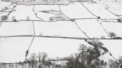 Snow covered fields on the Yorkshire Moors in Britain. Photograph: Jordan Mansfield/Getty Images