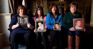 The Irish Heart Foundation  today launched a national campaign to  has called for a halt to the destruction of newborn screening card blood samples which could save the lives of extended family members of more than 1,000 young victims of Sudden Cardiac Death. Pictured are mothers from the SADs support group with photos of their deceased sons: Monica Martinfrom Rialto (who lost her son Connor, aged 16, in 2005) , Eileen Nevinfrom Clondalkin (who lost her son Stephen, aged 18, in 2007) , Sally Hegarty  from Rathfarnham (who lost her son Rory, aged 16, in 2009)  and Maureen KellyChair of the SADS Support Group (who lost her son Daragh, aged 21, in 2003) . Photograph: Leon Farrell / Photocall Ireland