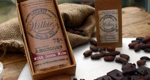 Wilkie's organic bean-to-bar chocolate.  Photograph: Cyril Byrne