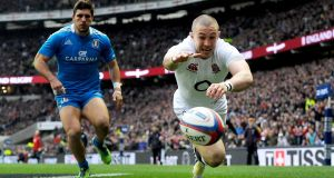 England's Mike Brown chases the ball against Italy. His side have become more careful and risk-free as the tournament has progressed, scoring just one try in their last three games. Photograph: Tim Ireland/PA Wire.