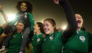 Ireland's Fiona Coughlan celebrates victory over France in Ashbourne.