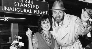 Aer Lingus hostess Elma Peters with singer Colm Wilkinson at Dublin Airport  for the inaugural flight to London Stansted.